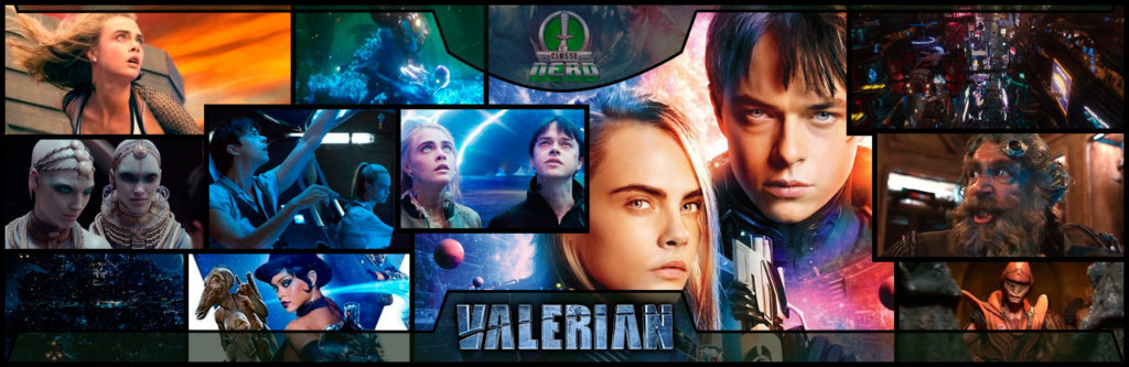 Imagem mostrando diversas cenas do filme Valerian e a cidade dos mil planetas